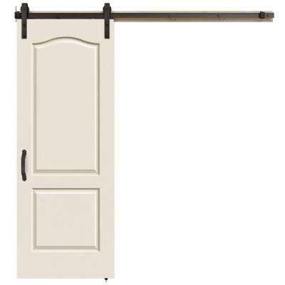 30 in. x 84 in. Camden Primed Smooth Molded Composite MDF Barn Door with Rustic Hardware Kit