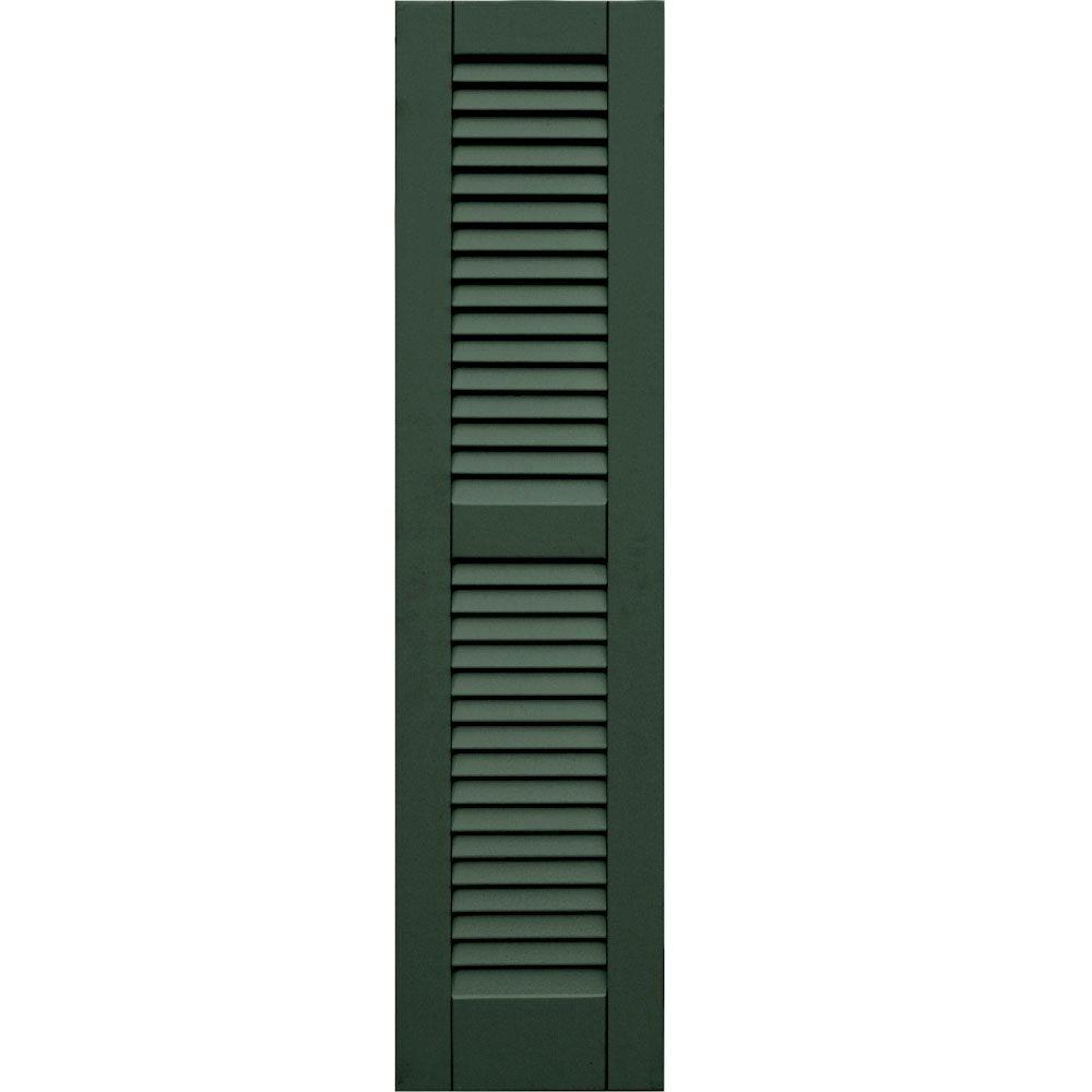 null Wood Composite 12 in. x 49 in. Louvered Shutters Pair #656 Rookwood Dark Green