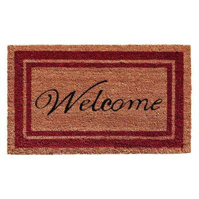 Burgundy Border Welcome Door Mat 18 in. x 30 in.