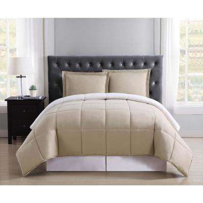 Everyday Khaki and Ivory Reversible Full/Queen Comforter Set