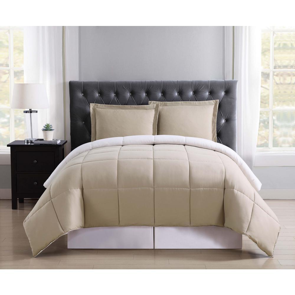 Everyday Khaki and Ivory Reversible King Comforter Set