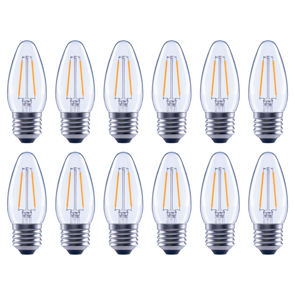 EcoSmart 25-Watt Equivalent B11 Dimmable Energy Star Clear Filament Vintage Style LED Light Bulb Soft White (12-Pack)
