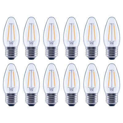 12-Pack EcoSmart B11 Dimmable Filament Vintage Style LED Bulb