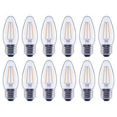25-Watt Equivalent B11 Dimmable Energy Star Clear Filament Vintage Style LED Light Bulb Soft White (12-Pack)
