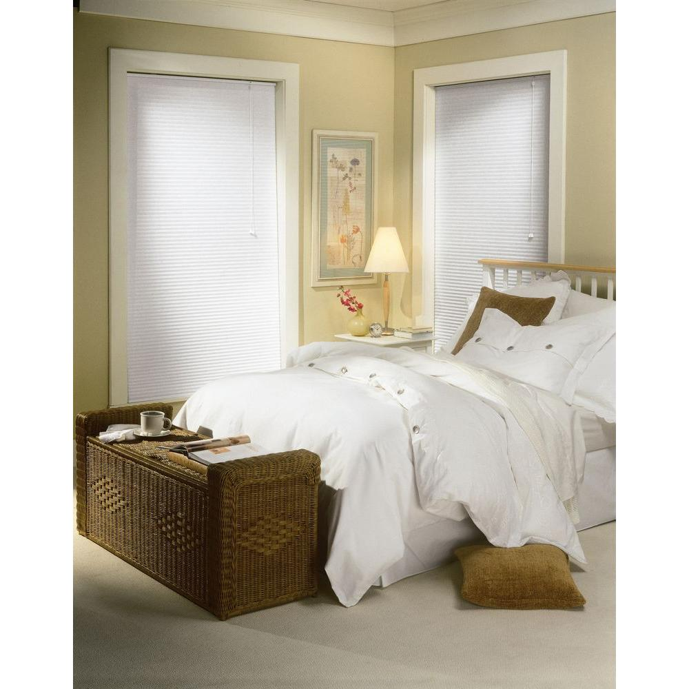 Bali Cut-to-Size White 9/16 in. Light Filtering Cellular Shade - 17 in. W x 72 in. L (Actual Size is 16.5 in. W x 72 in. L)