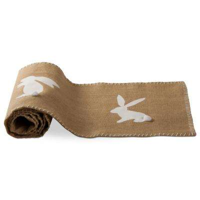 Bunny Hop Brown Natural Jute And Cotton Table Runner