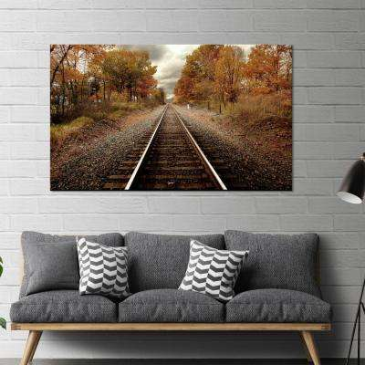 "36 in x 60 in. ""Autumn Rails"" Tempered Glass Wall Art"