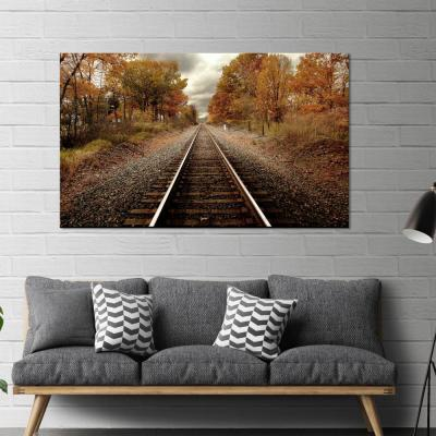 """36 in x 60 in. """"Autumn Rails"""" Tempered Glass Wall Art"""