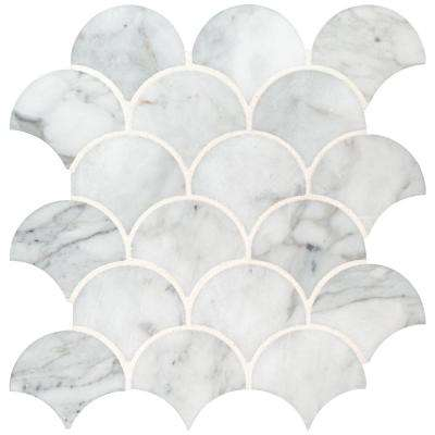 Calacatta Blanco Scallop 12.8 in. x 10.43 in. x 10mm Polished Marble Mesh-Mounted Mosaic Tile (9.3 sq. ft. / case)