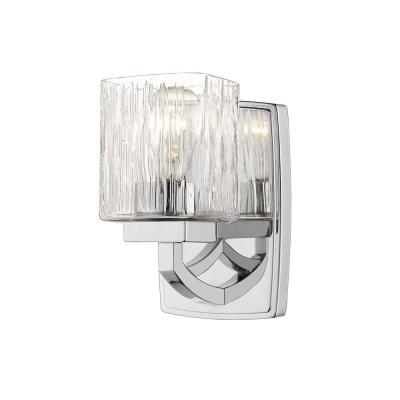 1-Light Chrome Sconce with Chisel Glass