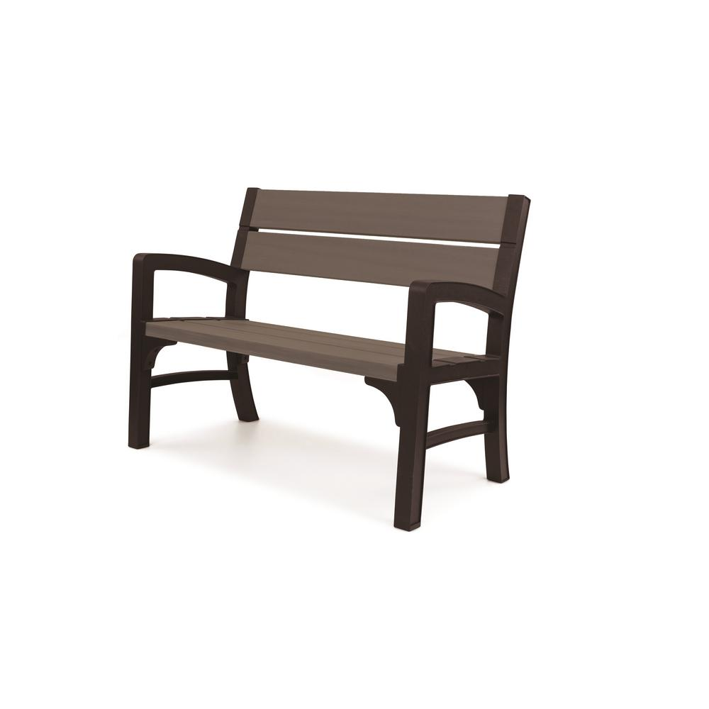 Keter brushwood 47 in resin outdoor garden patio bench for Outdoor plastic bench seats