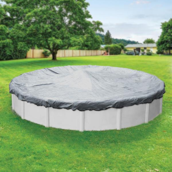 Extreme-Mesh XL 33 ft. Round Silver Mesh Above Ground Winter Pool Cover