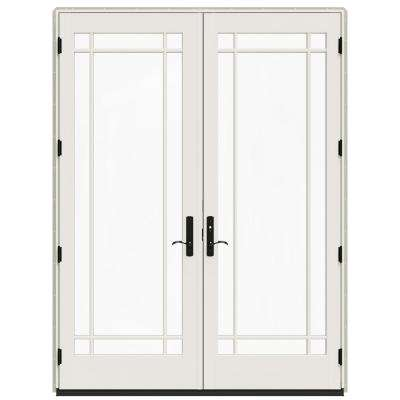 72 in. x 96 in. W-4500 Contemporary Desert Sand Clad Wood Left-Hand 9 Lite French Patio Door w/White Paint Interior