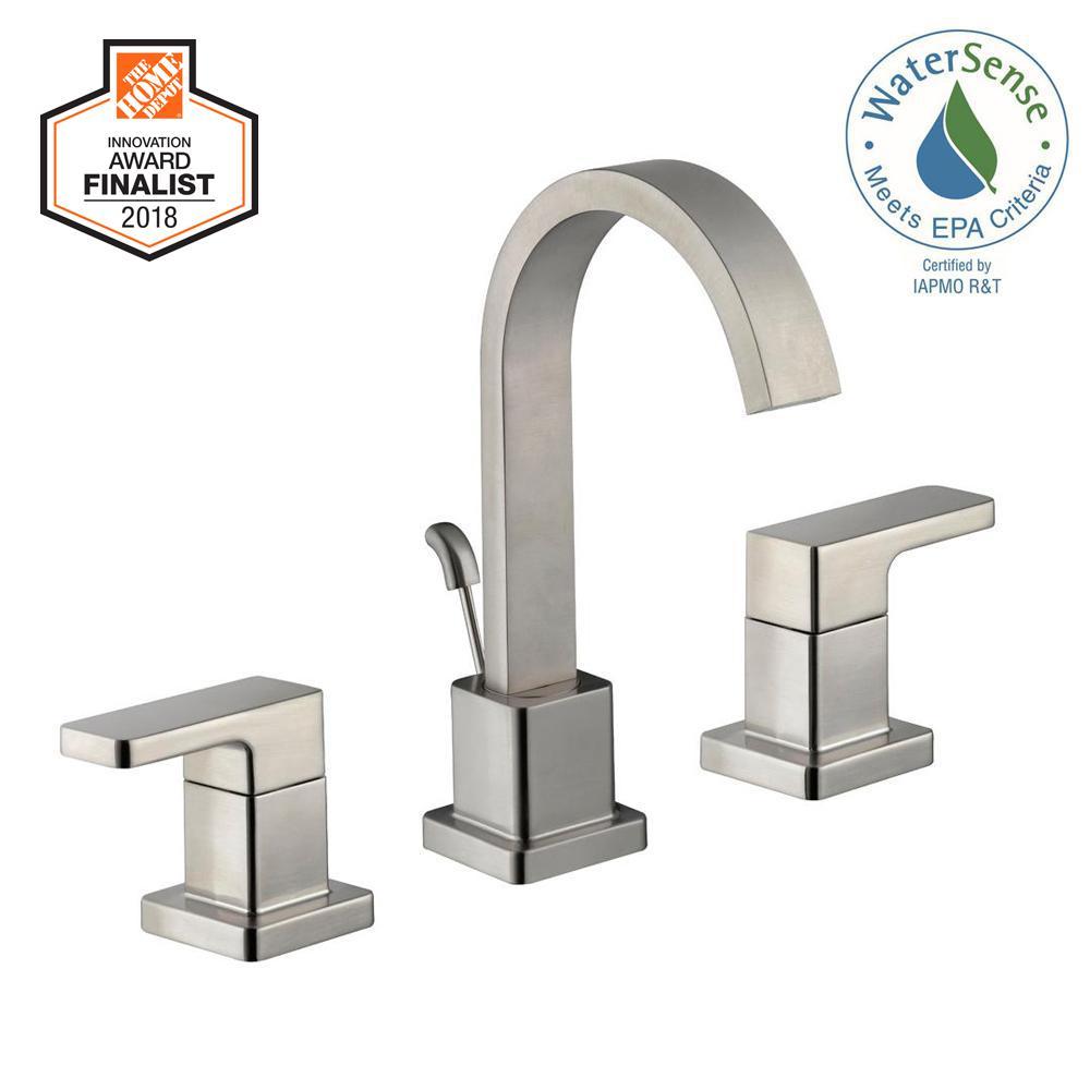 Marx 8 in. Widespread 2-Handle High-Arc Bathroom Faucet in Brushed Nickel