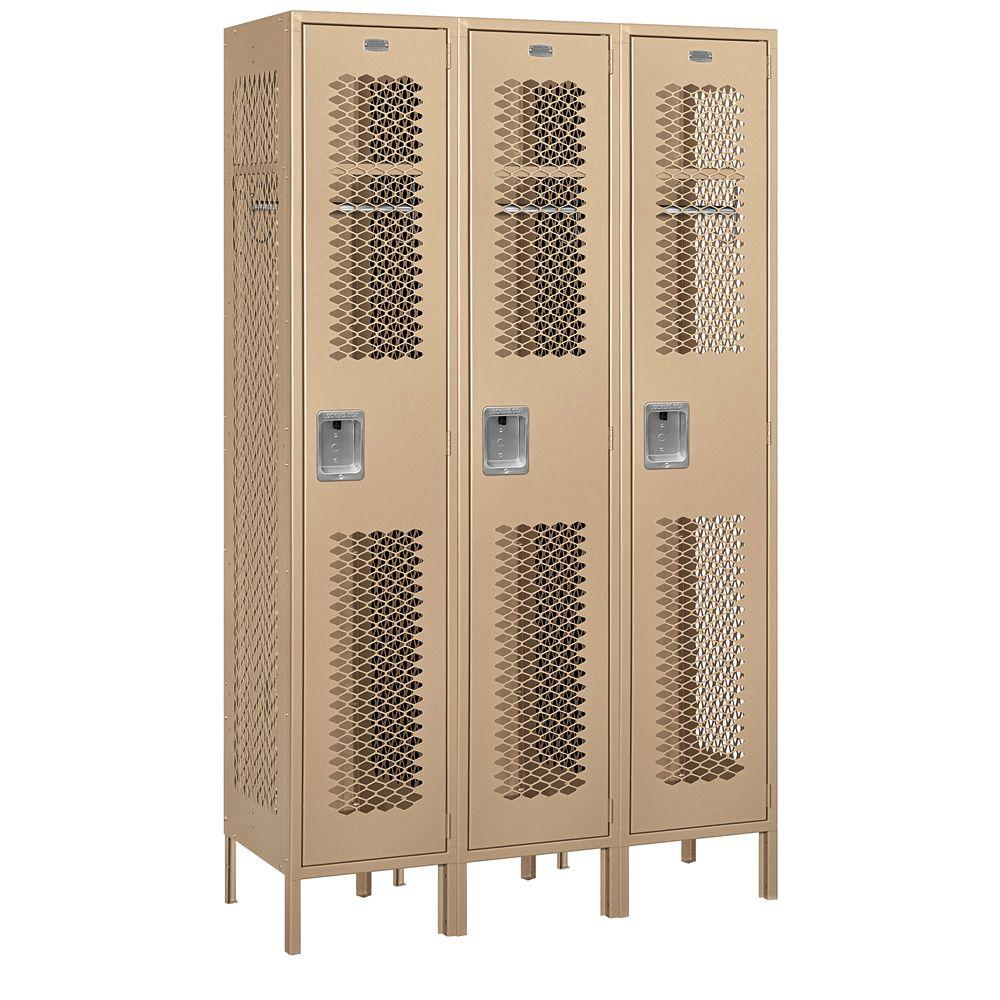 Salsbury Industries 81000 Series 45 in. W x 78 in. H x 18 in. D Single Tier Extra Wide Vented Metal Locker Unassembled in Tan