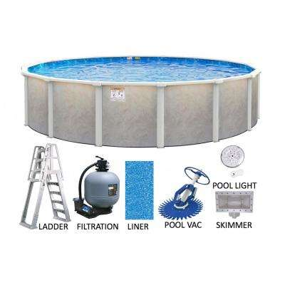 Ashford 27 ft. Round 52 in. Deep Hard Side Metal Wall and Frame Above Ground Swimming Pool Package