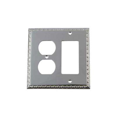 Egg and Dart Switch Plate with Rocker and Outlet in Bright Chrome