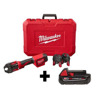 M18 18-Volt Lithium-Ion Cordless Short Throw Press Tool with (3) PEX Crimp Jaws and 2.0 AH Battery