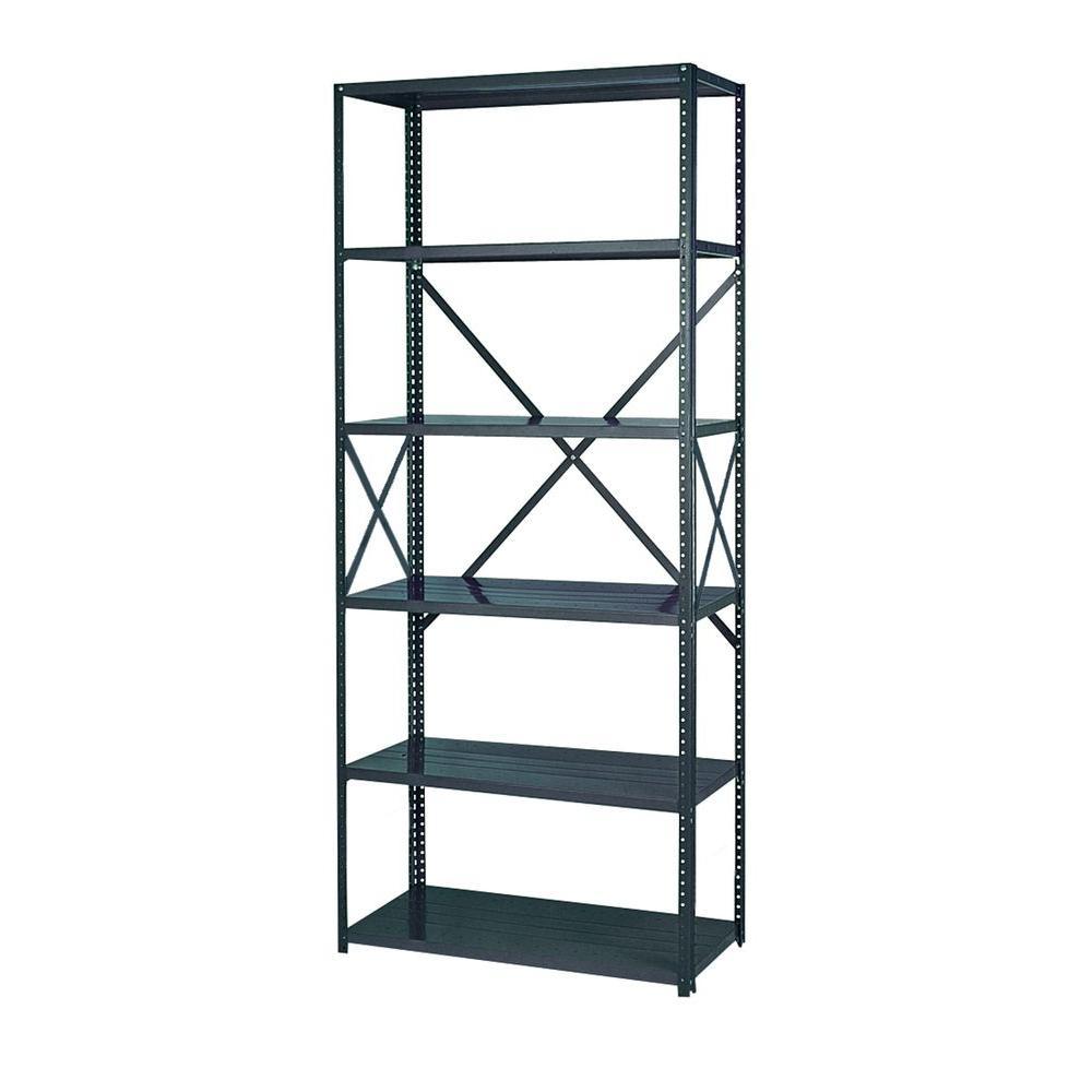 85 in. H x 48 in. W x 18 in. D 6- Shelf Steel Commercial Shelving Unit in Gray