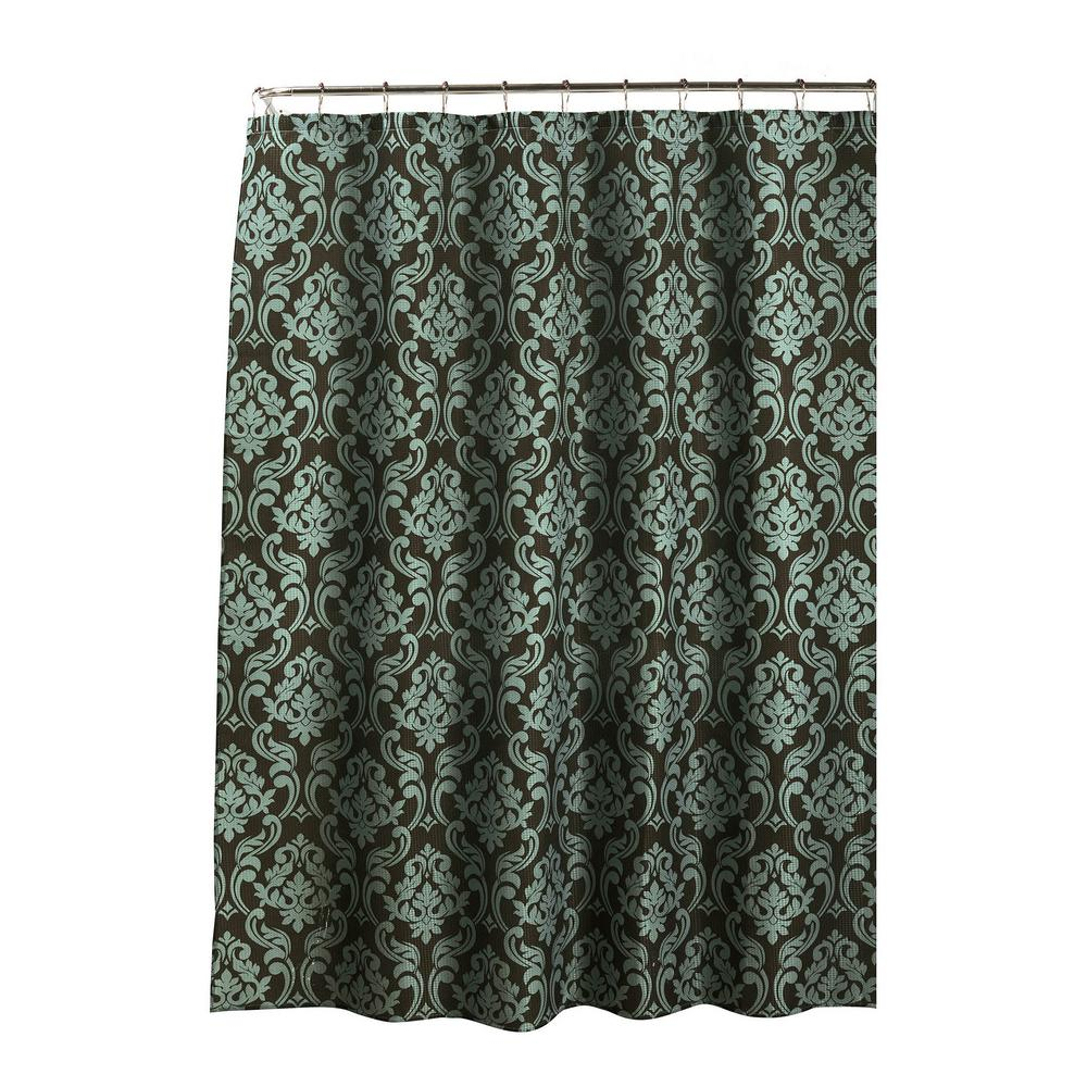 Creative Home Ideas Diamond Weave Textured 70 in. W x 72 in. L Shower Curtain with Metal Roller Rings in Chain DamaskEspresso/Sky