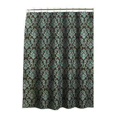 Diamond Weave Textured 70 in. W x 72 in. L Shower Curtain with Metal Roller Rings in Chain Damask Espresso/Sky