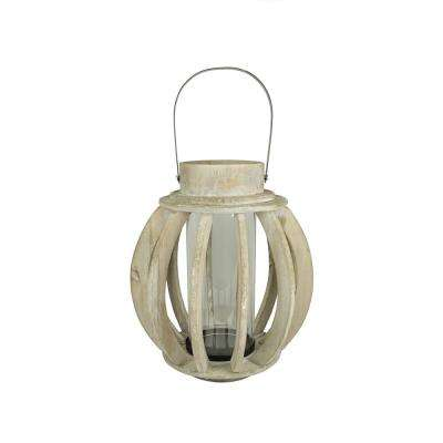 14.75 in. Seaside Treasures Rustic Chic Drift Wood Sphere and Glass Hurricane Pillar Candle Lantern