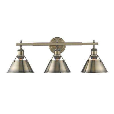 Orwell AB 3-Light Aged Brass Bath Light with Aged Brass Shade