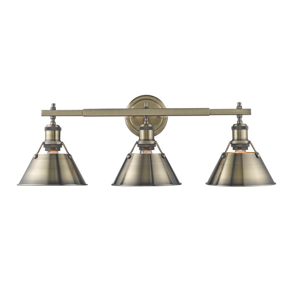 Orwell AB 3-Light Aged Brass Bath Light with Aged Brass Shade