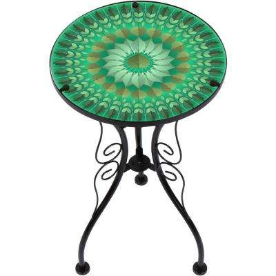 22 in. Green Leaf Design Glass and Metal Side Table