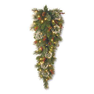 36 in. Wintry Pine Slim Teardrop with Battery Operated Warm White LED Lights
