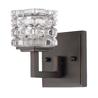 Coralie 1-Light Oil-Rubbed Bronze Sconce with Pressed Crystal Shade
