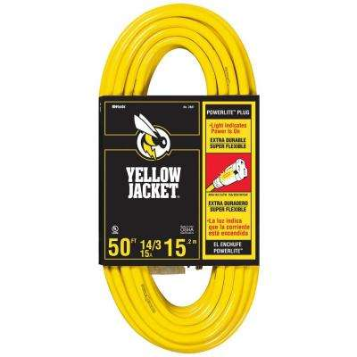 50 ft. 14/3 SJTW Outdoor Medium-Duty Extension Cord with Power Light Plug