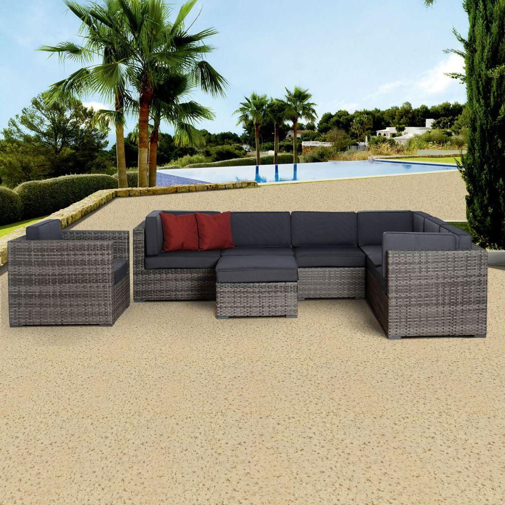 Atlantic Contemporary Lifestyle Marseille Grey 8-Piece All-Weather Wicker Patio Seating Set with Gray Cushions