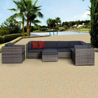 Marseille Grey 8-Piece All-Weather Wicker Patio Seating Set with Gray Cushions