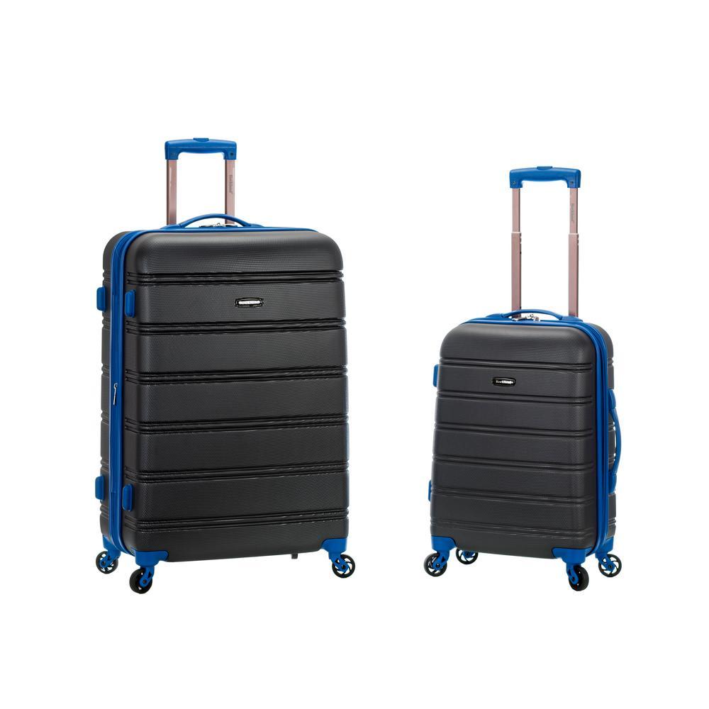 Rockland Melbourne Expandable 2-Piece Hardside Spinner Luggage Set, Grey