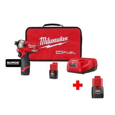 M12 Fuel Surge 12-Volt Lithium-Ion Brushless Cordless 1/4 in. Hex Impact Driver Compact Kit with Free M12 2.0 Ah Battery