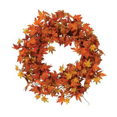 24 in. D Harvest Orange and Yellow Maple Leaf Wreath