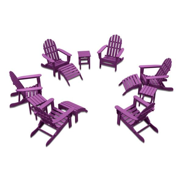 Icon Lilac 12-Piece Plastic Adirondack Patio Conversation Seating Set