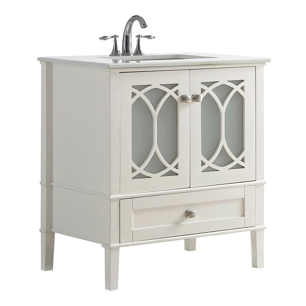 Simpli Home Paige 30 In W X 21 5 In D X 34 5 In H Vanity In Soft White With Quartz Marble