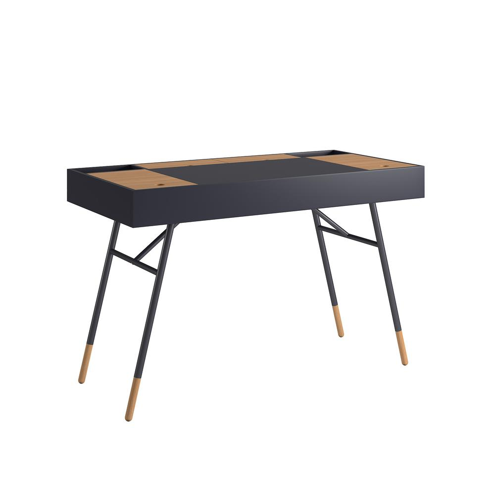 Marlowe Flip Compartment Midnight Writing Desk with Built In Outlets