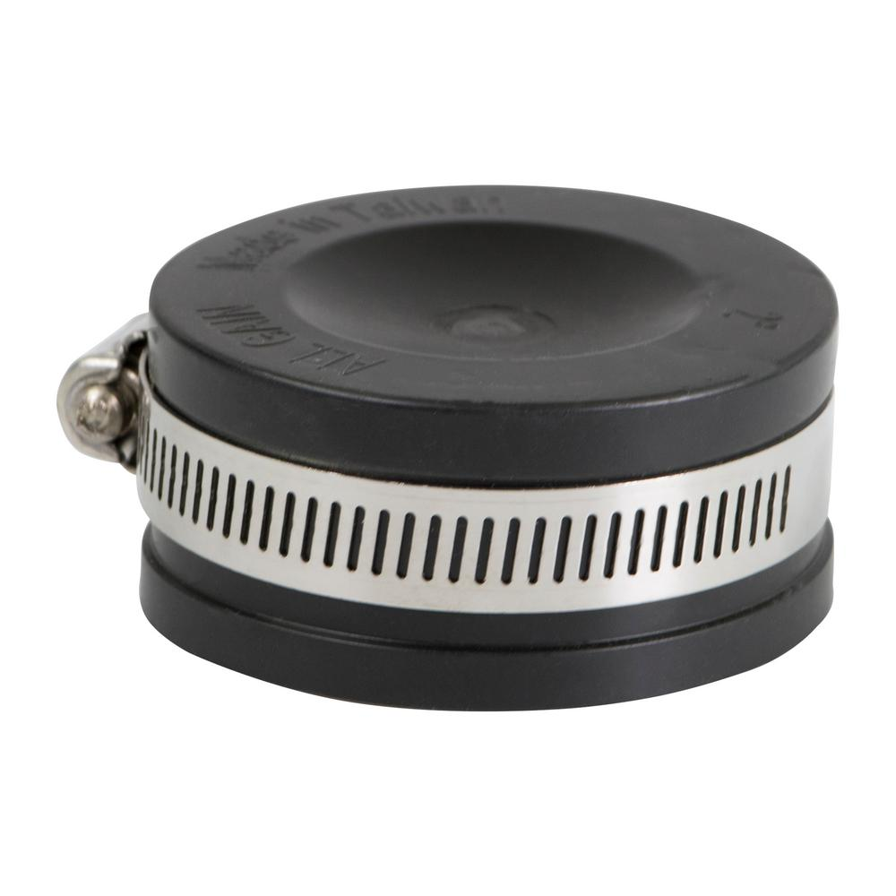 The Plumber's Choice 2 in. Pvc Flexible Pipe Cap with Stainless Steel Clamps
