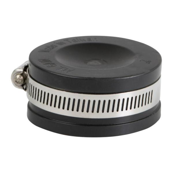 2 in. Pvc Flexible Pipe Cap with Stainless Steel Clamps
