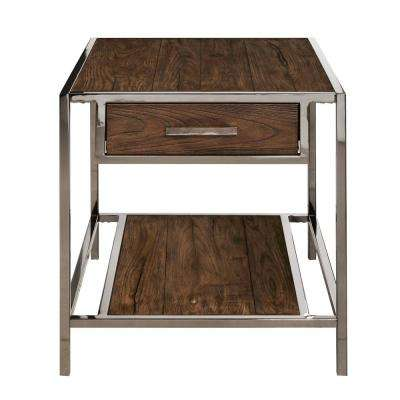 Modern Industrial Style Chocolate Brown Wood and Smoked Metal End Table  sc 1 st  Home Depot & Coffee Table Set - Industrial - Furniture - The Home Depot