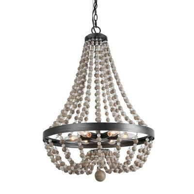 6-Light Wood Beaded 20 in. Matt Black Empire Bohemian Chandelier with Modern Industrial Metal Ring Frame Ceiling Lamp