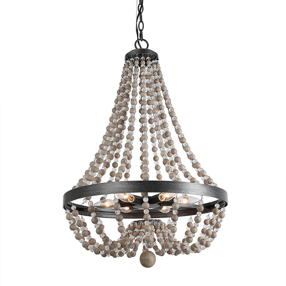 6-Light Wood Beaded 20 in. Matt Black Empire Bohemian Chandelier with Modern Industrial Metal Ring Frame Ceiling Lamp