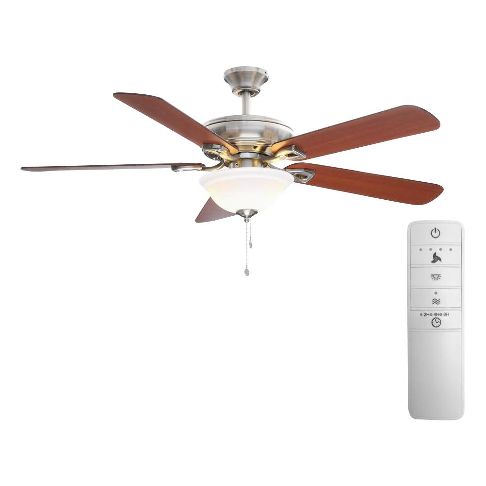 Hampton Bay Rothley 52 in. LED Indoor Brushed Nickel Smart Ceiling Fan with Light Kit and WINK Remote Control