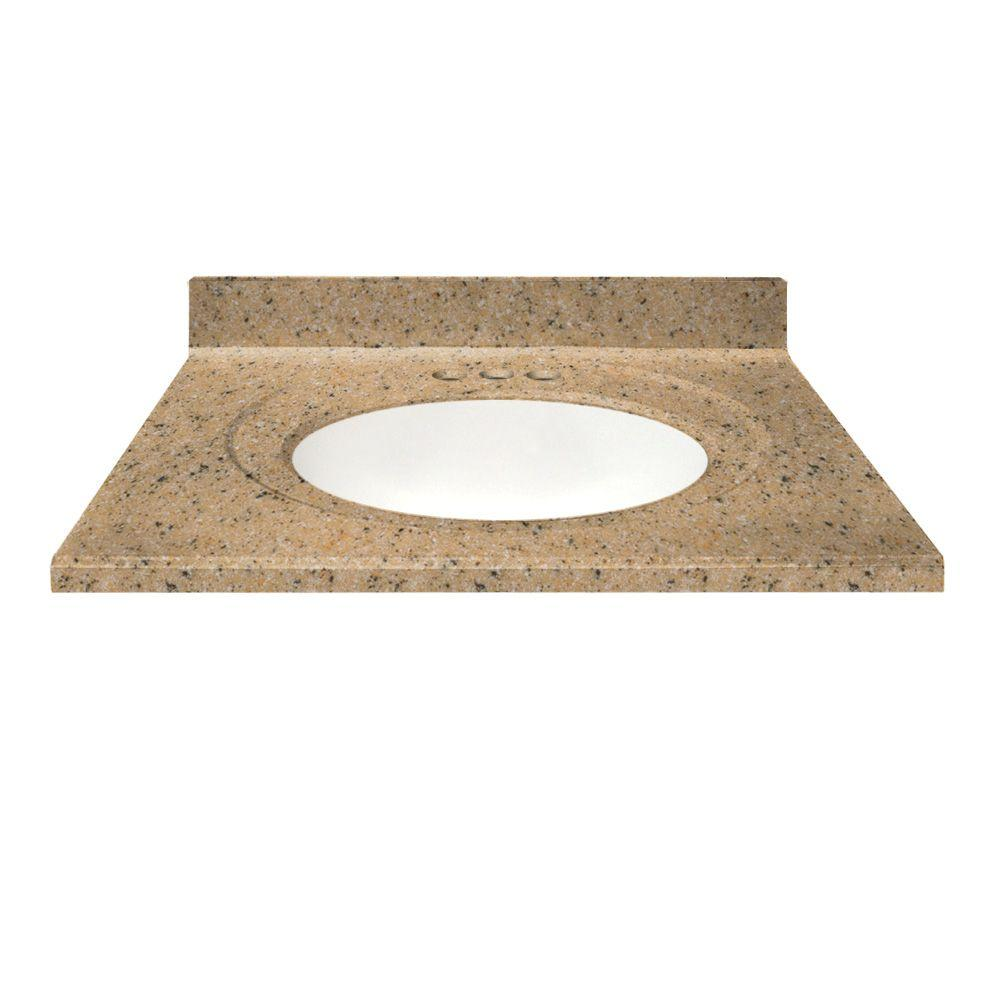 US Marble 49 in. Cultured Granite Vanity Top in Spice Color with Integral Backsplash and White Bowl