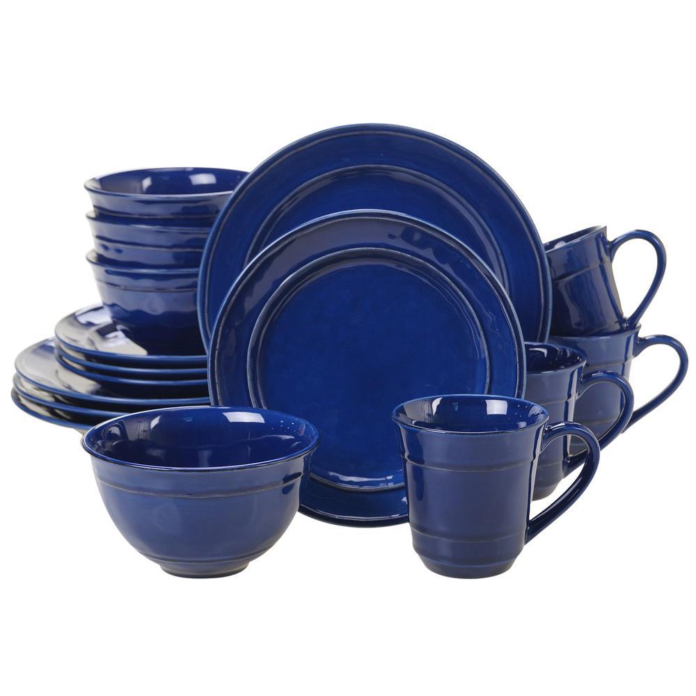 Certified International Orbit 16 Piece Cobalt Blue Dinnerware Set