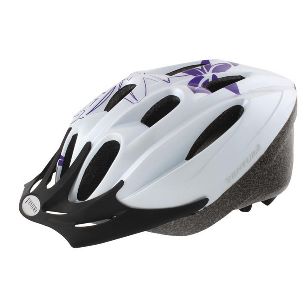 Flower Large Sport Bicycle Helmet in White