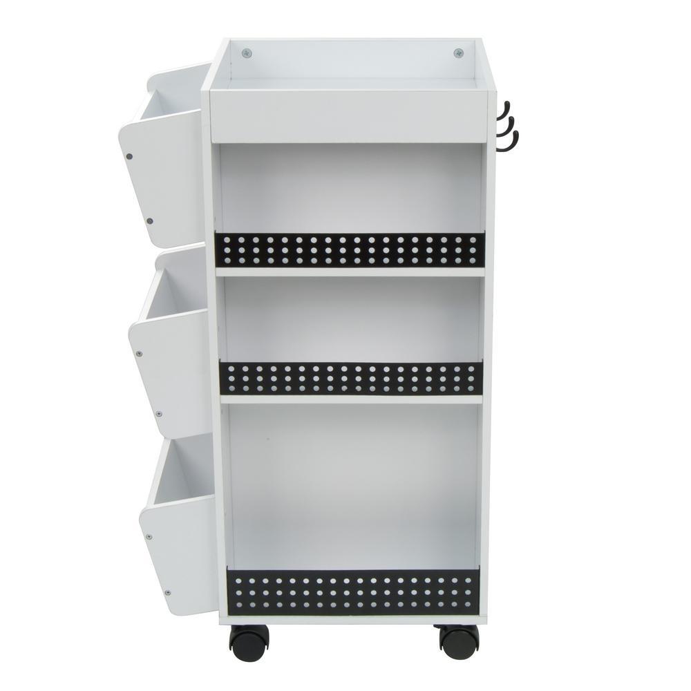21.75 in. W x 14.25 in. D x 34.5 in. H Swivel 3-Shelf PB Utility Craft Mobile Cart 4-Wheeled in White